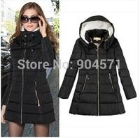 Plus Size 3XL 2014 Fashion Winter New Women Cotton Thicken Hooded Down Jacket Warm Coat Zipper Slim Casual Overcoat Outwear