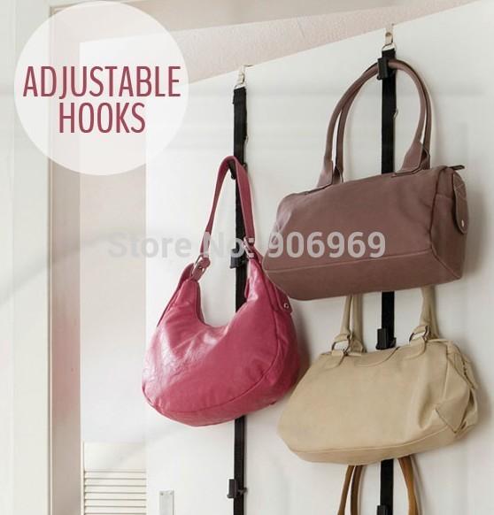 Hot Sale! Adjustable BAG RACK Over Door Hat Bag Clothes Rack Holder Organizer Straps Hanger,6pcs=3packs/lot OPP Package(China (Mainland))