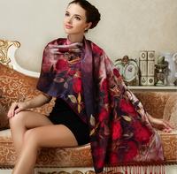 100% silk Scarf  Scarves foulard luxury Floral silk screen printing Women Scarfs and pashmina
