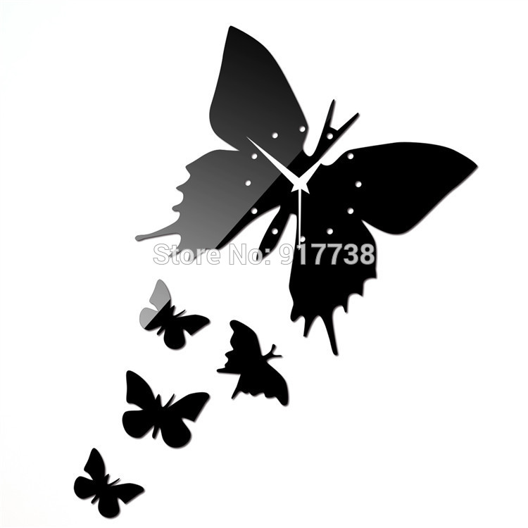 5PCS Butterfly BLACK LUXURY Mirror Wall Clock Crystal Wall Paper Home Decor  DIY Wall Sticker HOT SALE FREE SHIPPING