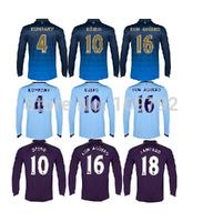 2015 long sleeve jersey KUN AGUERO TOURE YAYA soccer jersey thai quality 14 15 NASRI DZEKO SILVA LAMPARD KOMPANY Football shirt