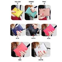 Women Clutch Wallets Small Zipper PU Leather Short Coin Purse Plug-In Card Holder Golden Bowknot Decoration Ladies Handbag