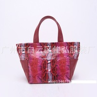 VOLFOUR Hot Elegant Women Real Cow LEATHER Designer Handbags High Quality Snake Grain Bags Women Genuine Leather Free Shipping
