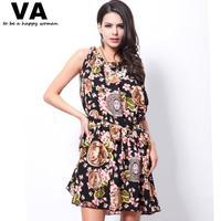 Dress Big Size Sleeveless O Neck Fashion Printing Big Hem Women Dress Best Selling Casual Fashion Summer Dress 4XL 5XL W00148