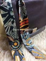 2014 BRAND new Sun India style 100% real silk 32*2 inch twilly ribbon belt small bind bag headband real shot sale item scarf
