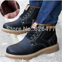 Hot sale fashion black plus velvet men snow boots winter lace up ankle boots British style male plus size genuine leather boots