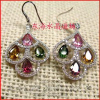 2015 Fashion 925 Sterling Silver Bohemia Natural Color Tourmaline Earrings Rose Gold Plated Heart Precious Stones Inlaid