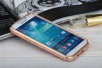 High Quality Metal Aluminum Bumper Frame Rhinestone Case For Samsung Galaxy S4 I9500