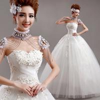 2014 Tube top lace flower princess bride bandage wedding  dress winter A7306#