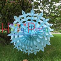"Free Shipping 50pcs/Lot 12""(30cm) Snowflake Paper Fan Wholesale/Retai Tissue Paper Fan Crafts Party Wedding Home Decoration SPF6"