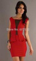 Top Quality New fashion summer dress 2014 mini bodycon Work peplum dress sexy club plus size bandage Party dress M/L/XL