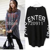 Autumn clothing new style korean women's dress loose large size Medium style long sleeved T-shirt women coat fleece C56