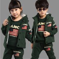 Children three-piece suit,hoody+pants+Jacket,baby girls boys clothing,children warm winter wear,American flag printing kids wear