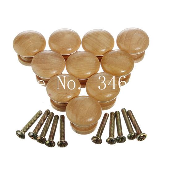 10pcs/set 25mm Natural Wooden Mushroom Shaped Cabinet Knob Drawer Wardrobe Door Pull Handle Hardware(China (Mainland))