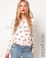 2014 Cheap Spring Autumn New Fashion Womens' Hot Red Lip Print Chiffon Blouse Elegant Casual T Shirt Slim Design Wholesale
