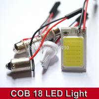 10pcs 3W COB Chip 18 led LED Car Interior Light T10 Festoon Dome BA9S Adapter 12V,Wholesale Car Vehicle LED Panel