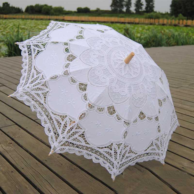 New Vintage Lace Umbrella Handmade Cotton Embroidery White Battenburg Lace Parasol Umbrella Wedding Decorations Free Shipping(China (Mainland))