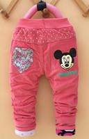 4pc/lot(3-6T) winter baby girls pants mickey giraffe kids trousers corduroy children clothes wholesale panya pyf20