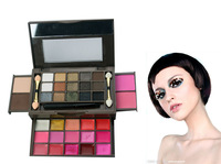 Free Shipping New Arrived Pro 34 Color Makeup Palette15 Eyeshadow + 15 Lip Gloss +2 Foundation powder+2 Blush Makeup Set 03#