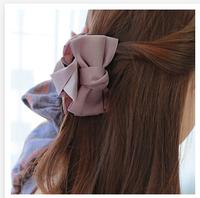 2014 Free Shipping South Korea New Hair Accessories Handmade Grasp Clip Hair Ribbon Bow Pure Colour Cloth Art Cacth Hair