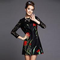 S-5XL Brand 2014 Autumn Women Elegant Hollow out Lace Sleeve Patchwork Plower Print Black Dresses Plus Size vestidos XXXL 4XL