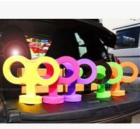 Hot Sale+Free Shipping Key Shape Antenna Ball Ornaments for Car,Korea Style Big Key Car Decoration Topper EVA