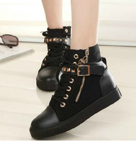 2014 Winter Harajuku Student Women's Fashion Casual High Ankle Shoes Lace Up Rivet Skull Decorate Buckle Flat Sneakers