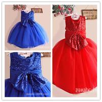 Hu Sunshine wholesale 2014 fashion Summer girl Elegant dress party princess dress sequins big bow print wedding dress ZLF111004H