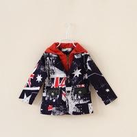Children Outerwear Boys Coats Jacket Union Jack Casaco Infantil Parka Doudoune Enfant Roupa Infantil Hoody Sweatshirt CW-25