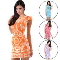 New 2014 vintage dresses Fashion women clothing Spring print vestidos femininos autumn casual dress 5777D.