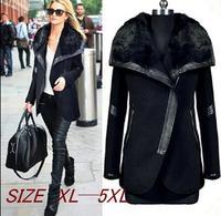 New European Style Women Winter dress Coat Fur collar Leather Splice Lrregular Jacket Wool Overcoat XL XXL XXXL XXXXL XXXXXL