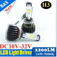 New 2014 H3 CREE LED head light headlamp Car H3 LED Headlight Bulbs 48W 4400LM  6000K Xenon White