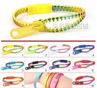 Free shipping 5#  seven colors zipper bracelets environmental protection kid bracelet  Hot sale zipper jewelry wholesale