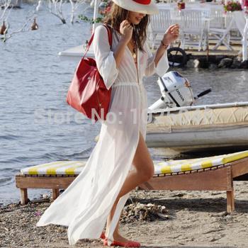 Новый 2015 мода женщины пляж платье сексуальный летом белый шифон длинные платья макси кардиган пляж бикини прикрыть праздник пляжная одежда