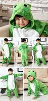 Flannel Kids' Frog Hoodie Onesie Sleepsuit Kigurumi Pajamas Costume Cosplay Homewear Lounge Wear for Boys Girls