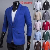 2014 New arrivals men's  casual tops mens slim blazers 12 colors  M-XXL