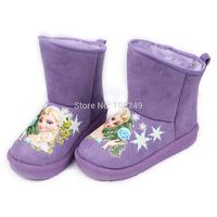 Children's Snow Boots Girls Winter Warm Shoes Purple Frozen Princess Elsa Snowflake Anti-slip Snow Boots Christmas Gift for Kids