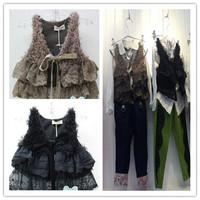 Hu sunshine wholesale Specials 2014 fashion sleeveless autumn and winter girls plush lace waistcoat / vest wool vest WW11101959H