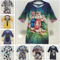 New hot summer women's slim sexy one-piece dresses Animals elephants/fish/deer/grumpy cat print vintage women dress