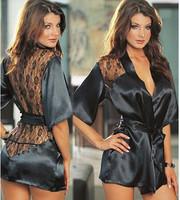 Fashion Black Satin Black Sexy Lingerie Costume Pajamas Underwear Sleepwear Robe and G-String Free Shopping -G05