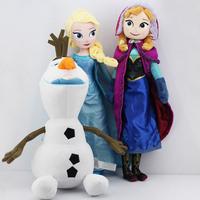 3Pcs/Lot Elsa anna olaf Plush Toys 45CM olaf plush + 50CM Princess Elsa plush Anna Plush Toy Doll Brinquedos Kids Free Shipping