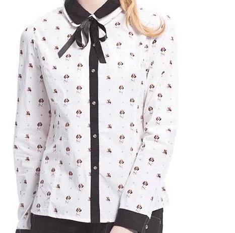 01TB03 Women fashion elegant dog floral print blouses vintage turn down collar long sleeve shirt work wear casual slim tops(China (Mainland))