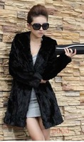 Wholesale!2014 Winter fur coat medium-long overcoat faux Rabbit Fur outerwear Women Plus Size hood Winter Coat S-- XXXL