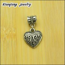 Free shipping! 2014 New 50pcs Tibetan silver  Heart  European charm beads Fit European Bracelets DIY DT002