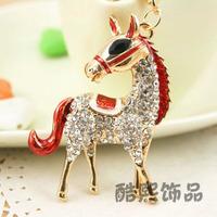 High quality  zodiac horse full metal male women's car keychain rhinestone car key chain, Christmas gift key ring
