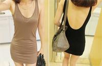 Sexy skin-friendly all-match basic fashion racerback spaghetti strap vest one-piece dress slim basic slim hip skirt