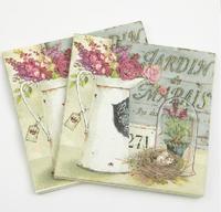 [4 packs]  100% original pulp eco-friendly paper napkins printed napkin gardon cocktail napkins -4NC3418