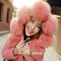2014 New Korean Style Sun Floral Big Fur Collar Women Slim Winter Jacket X-Long Style Hooded Duck Down Jacket 4 Colors Zipper
