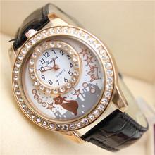 LZ Jewelry Hut DK05 2014 New Top Quality Brand Design Leather Strap Rhinestone Crown Cat Women