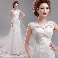 Princess bride slit neckline lace WEDDING DRESS strap fish tail train plus size wedding dress winter A3708#